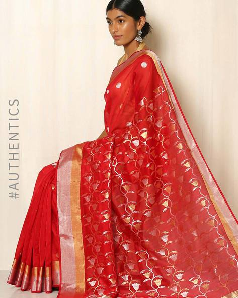 Handwoven Pure Silk Cotton Chanderi Saree By Indie Picks ( Red )