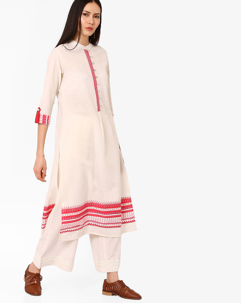 Cotton Kurta With Mandarin Collar By AJIO ( Offwhite )