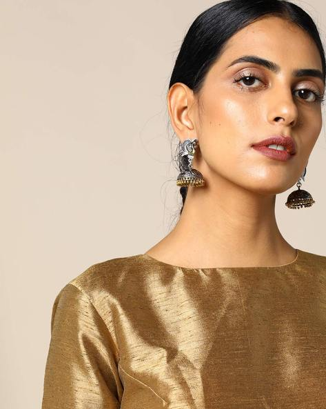 Two-Toned Peacock Brass Jhumka Earrings By Studio B40 ( Goldensilver )