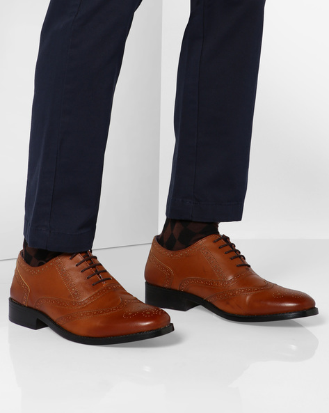 Lee Wing-Cap Brogue Oxford Shoes By Knotty Derby ( Tan )