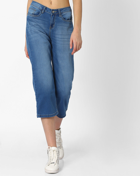 Cropped Straight Fit Jeans By AJIO ( Blue )