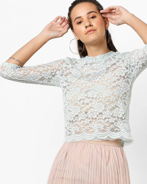 Floral Lace Top By Ginger By Lifestyle ( Lightblue )