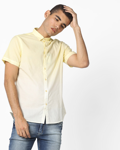 Ombre-Dyed Shirt With Curved Hemline By AJIO ( Yellow )