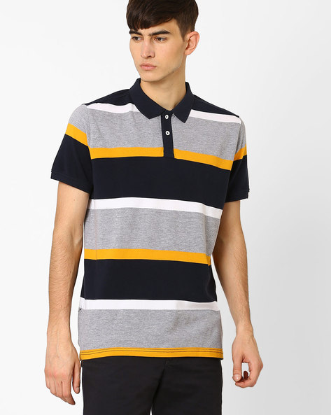 Striped Slim Fit Pique Polo T-shirt By BASICS ( Navy )