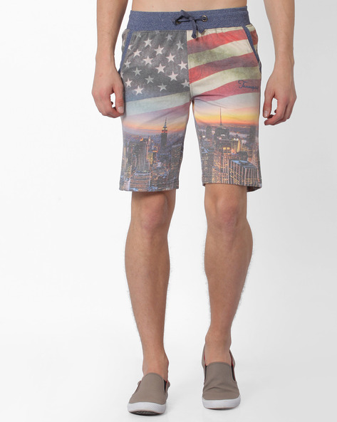 Knitted Shorts With Sublimation Print By TEAM SPIRIT ( Charcoal )
