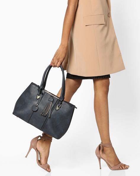 Shoulder Bag With Tassels By FUR JADEN ( Navy )
