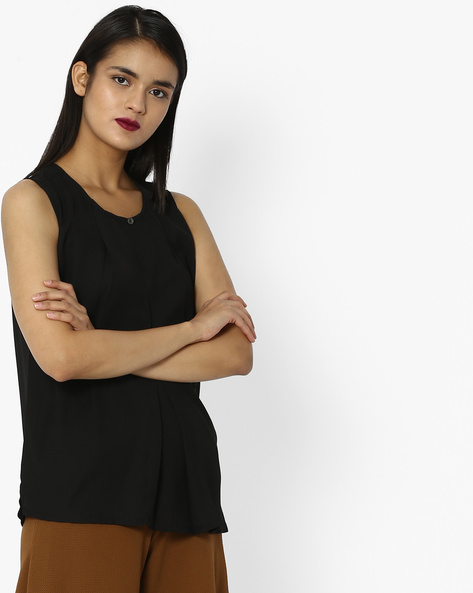 Crew-Neck Top With Box Pleats By Project Eve WW Casual ( Black )