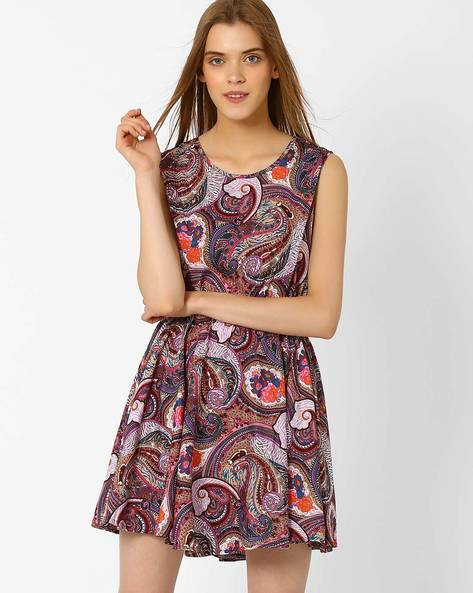 Paisley Print Fit & Flare Dress By Oxolloxo ( Multi )