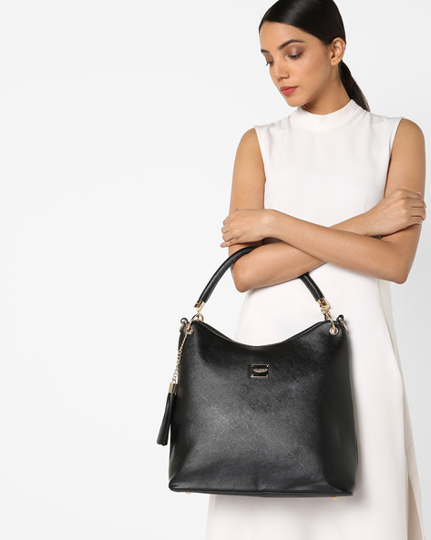 Hobo Bag With Detachable Long Strap By Lino Perros ( Black )