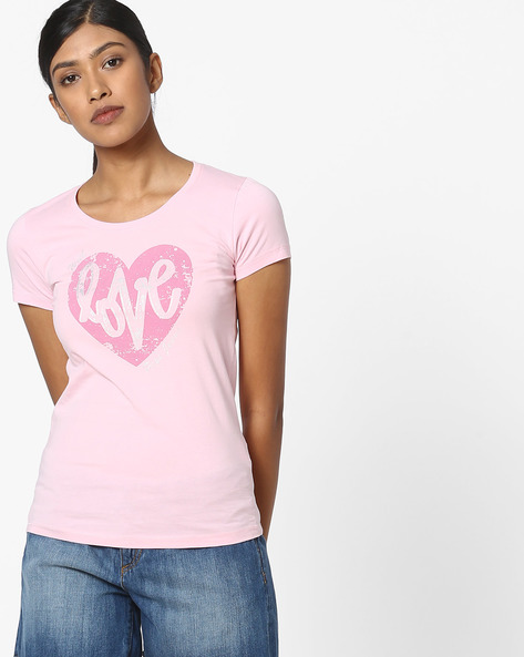 Graphic Print Crew-Neck T-shirt By Pepe Jeans ( Pink )