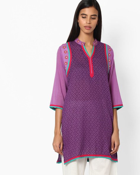 Printed Straight Kurta By Jiyaa ( Purple )