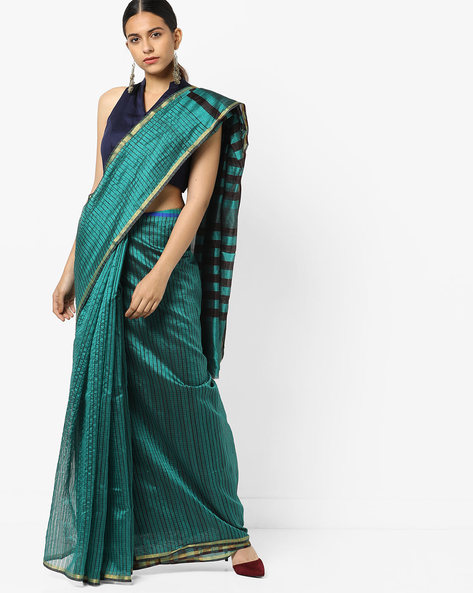 Striped Saree With Blouse By Florence ( Green )