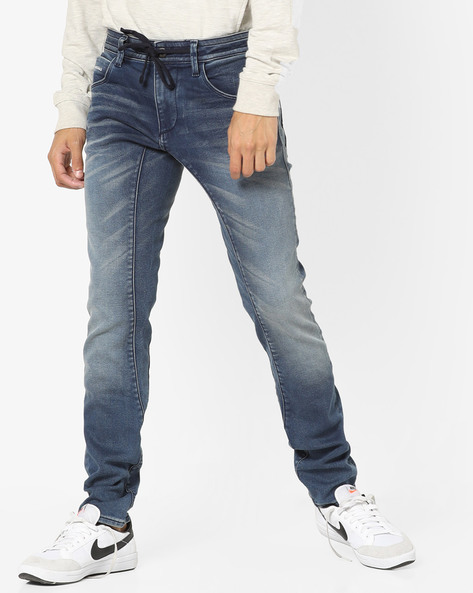 Washed Jeans With Tie-Up Waist By Jack & Jones ( Blue )