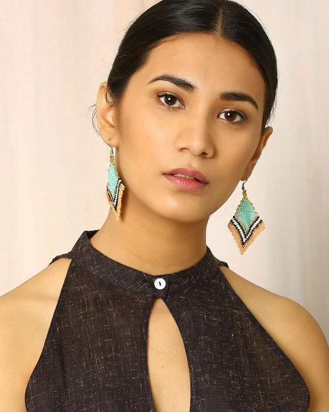Beaded Dangler Earrings By Indie Picks ( Turquoise )