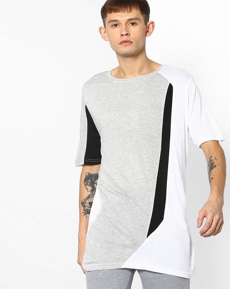 Cut & Sew Longline T-shirt By ADAMO LONDON ( Multi ) - 460073273001
