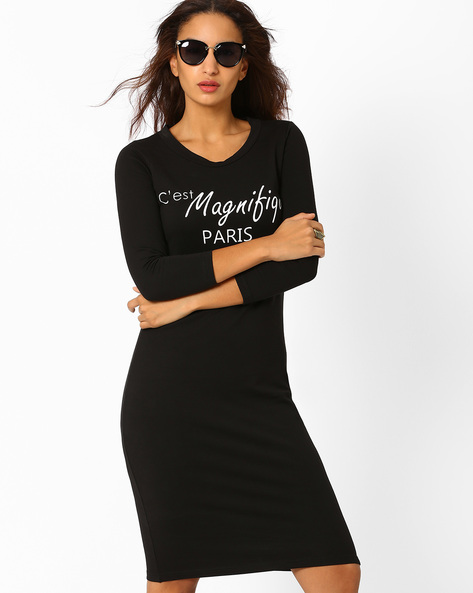 Ribbed Graphic Print Bodycon Dress By AJIO ( Black )