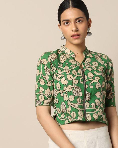 Kalamkari Print Cotton Blouse By Indie Picks ( Green )