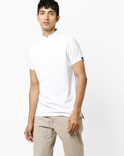 T-shirt With Mandarin Collar By BASICS ( White )