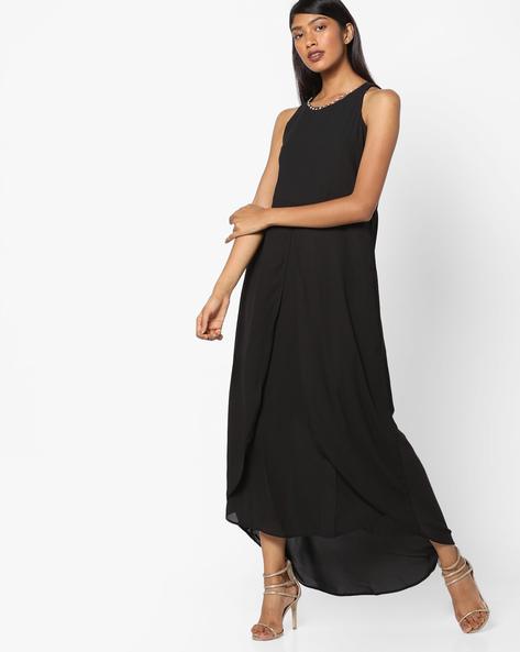 Layered Sheath Dress With Asymmetric Hem By Tokyo Talkies ( Black )