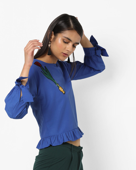 Frilled Peplum Top With Embroidery By AJIO ( Blue )