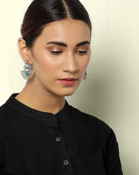 Dual-Toned Brass Statement Earrings With Stone Embellishments By Indie Picks ( Multi )
