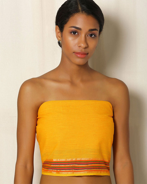South Cotton Blouse Fabric With Zari Border By Indie Picks ( Yellow )