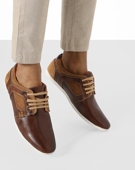Genuine Leather Lace-Up Casual Shoes By BUCKAROO ( Brown )