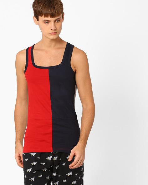 Colourblock Cotton Fashion Vest By CHROMOZOME ( Red )