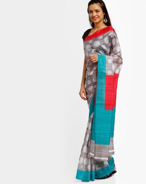 Printed Bhagalpuri Art Silk Saree By Lookslady ( Grey )