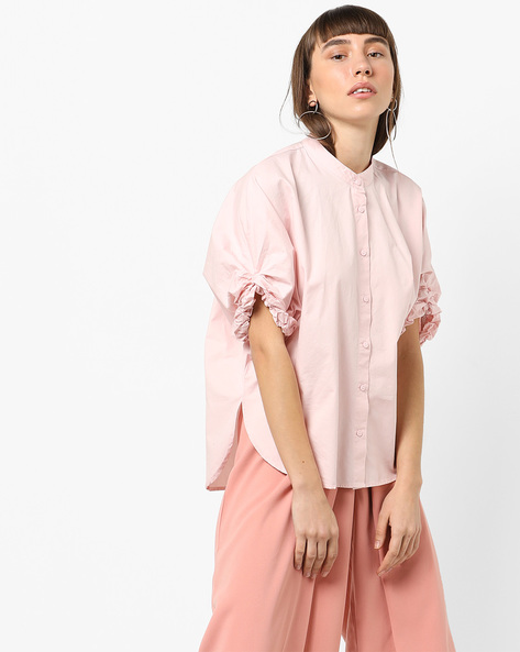 High-Low Shirt With Ruched Sleeves By Vero Moda ( Pink )