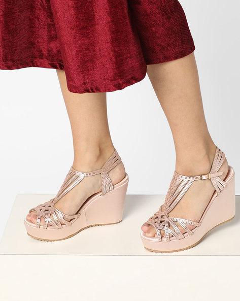 Embellished Wedge Heels With Cutwork By Carlton London ( Beige )