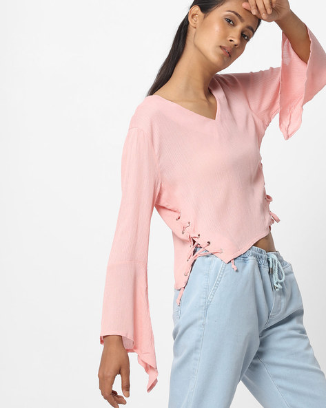 Top With Side Tie-Ups By Ginger By Lifestyle ( Pink )