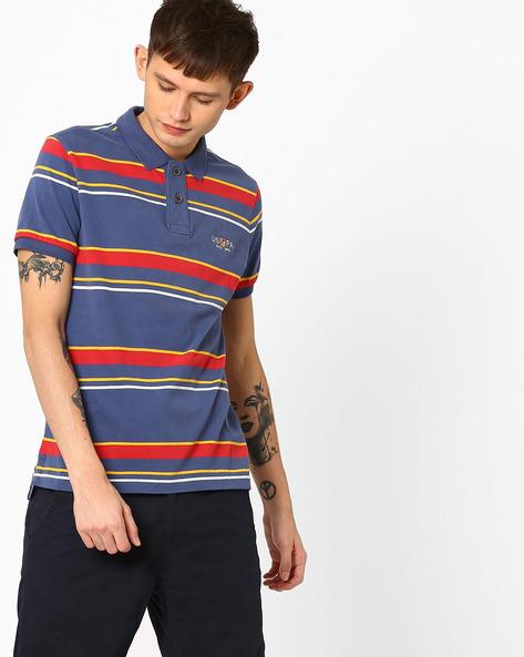 Striped Slim Fit Polo T-shirt By US POLO ( Indigo )