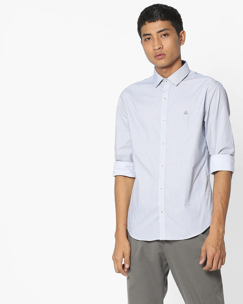 Geometric Print Slim Shirt By UNITED COLORS OF BENETTON ( Lightblue )