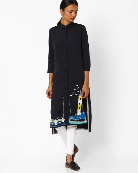 High-Low Kurta With Spread Collar By W ( Blue )