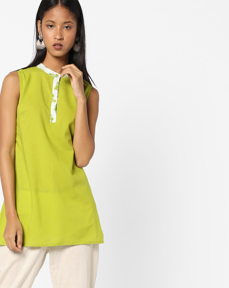 Straight Kurta With Mandarin Collar By AJIO ( Limegreen )