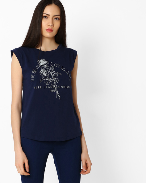 Printed Sleeveless T-shirt By Pepe Jeans ( Navy )