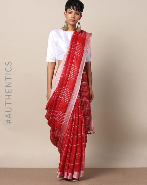 Handloom Linen Check Saree With Pom-Pom Detailing By Indie Picks ( Multi )