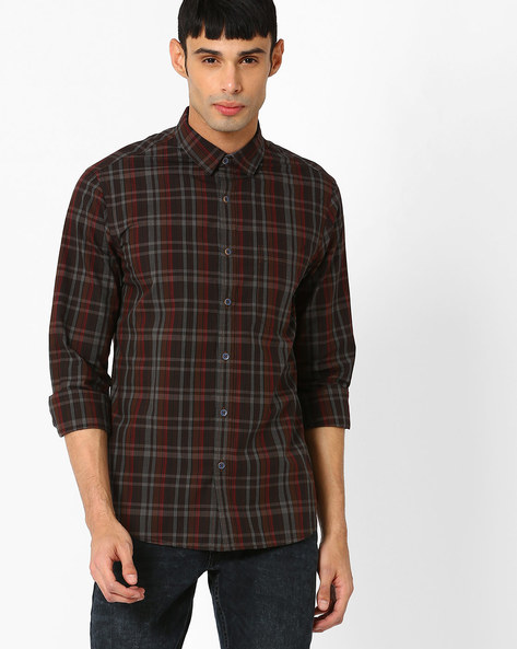 Slim Fit Checked Shirt With Elbow Patches By AJIO ( Brown )
