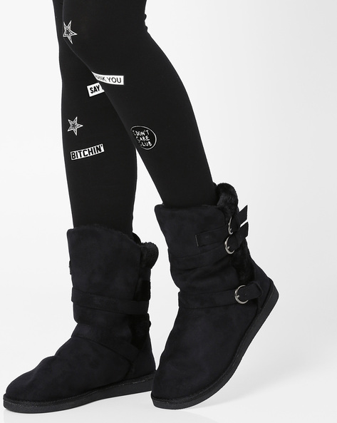 High-Top Uggs With Buckle Closure By Carlton London ( Black )