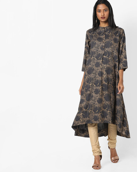 A-line Kurta With Asymmetrical Hemline By Project Eve IW Casual ( Grey )