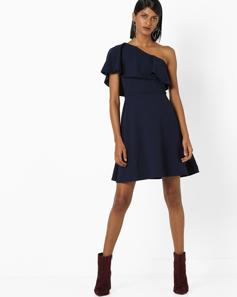 One-Shoulder A-line Dress With Ruffles By 20Dresses ( Blue )
