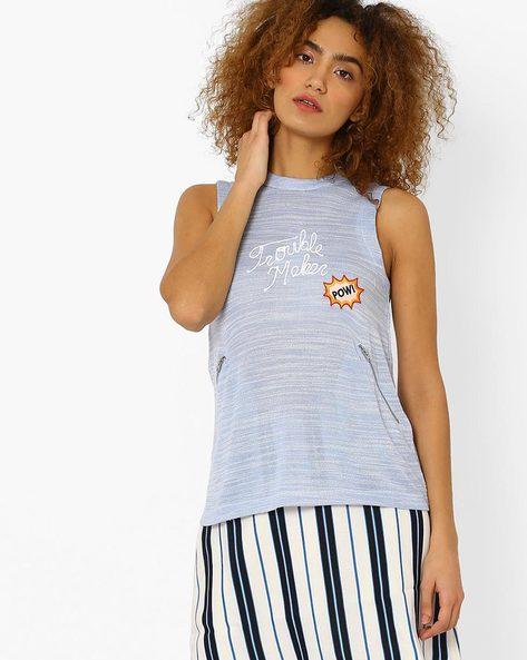 Printed Crew-Neck T-shirt By Vero Moda ( Blue )