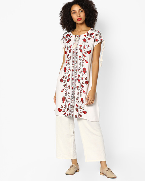 Embroidered Kurta With Tie-Up By Melange By Lifestyle ( Offwhite )