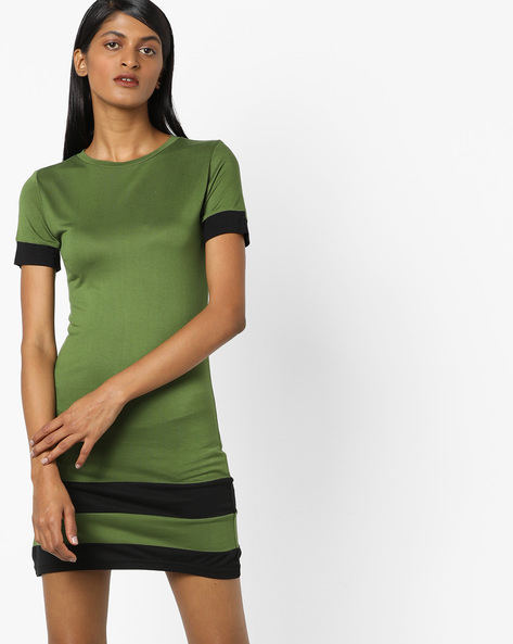 Bodycon Dress With Contrast Stripes By AJIO ( Olive )