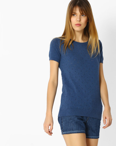 Knitted Cotton Top By FIG ( Darkblue )