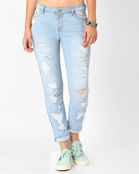 Distressed Slim Fit Jeans By AJIO ( Lightblue ) - 460015395003