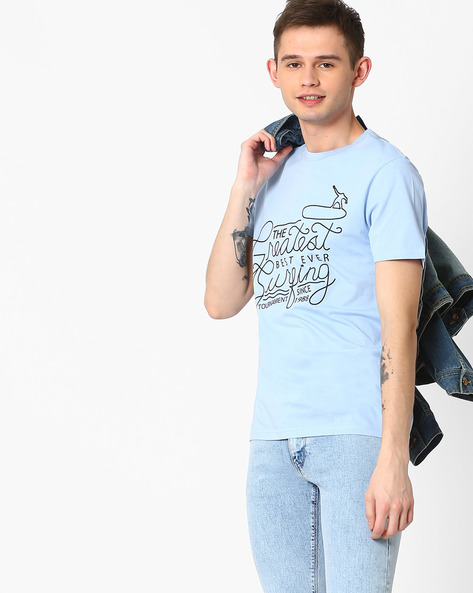 High-Density Print Crew-Neck T-shirt By AJIO ( Blue )