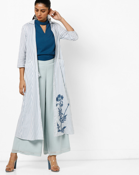 Open-Front Long Jacket With Embroidery By AJIO ( Blue )