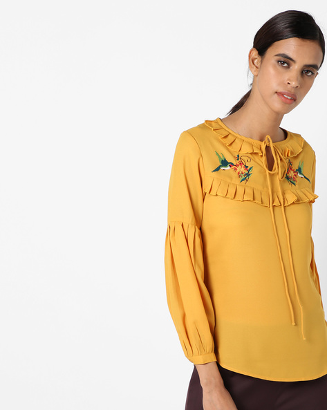 Embroidered Top With Tie-Up Neck By RI-DRESS ( Yellow )